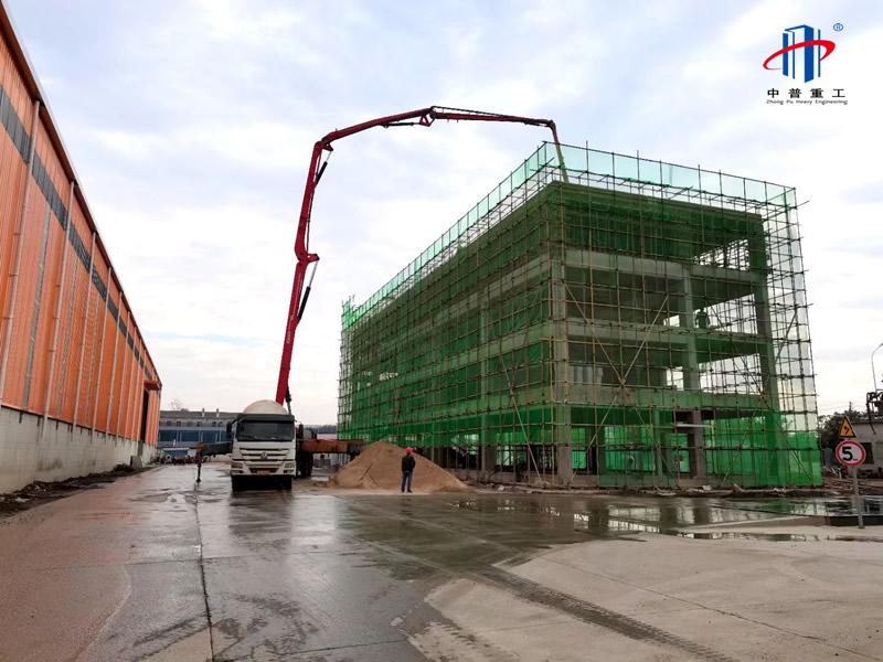 中普重工建设新型路面建材再生循环利用钢结构工业园
